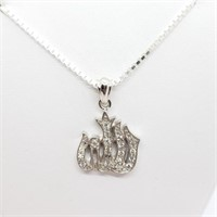 Silver Cubic Zirconia  Necklace (~weight 14.5g)