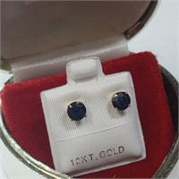 10K Yellow Gold Sapphire(1.25ct)  Earrings, Made