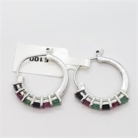 Silver Sapphire Ruby Emerald  Earrings (~weight