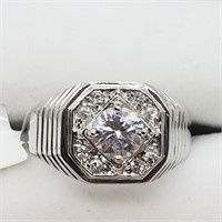 Silver Cubic Zirconia  Ring (~Size 7.5) (~weight