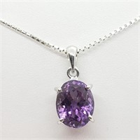 Silver Amethyst  Necklace (~weight 7g) (180 -