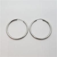 Silver Hoop   Earrings (~weight 3g) (182 - CR116)