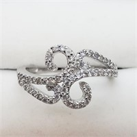 Silver Cubic Zirconia  Ring (Size 6) (185 -