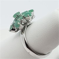 Silver Emerald  Ring (~Size 7) (~weight 5.5g)