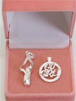 Lot of 2 Sterling Silver Pendants (Assorted
