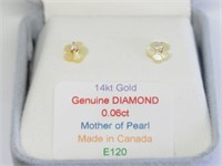 14KT Gold 2 in 1  Diamond(0.125ct) Mother of