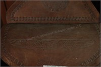 Leather Saddle Bags with Intricate Tooling, Buckle
