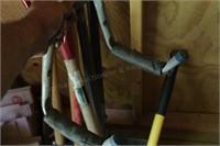 6pc Spade, Post Hole Digger, Axe ,Snow Shovel, etc