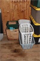 Wood Crate, Rubbish Bins, Hampers, Metal Trays