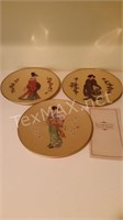 3 Vintage Golden Plates of the Noble Maidens