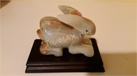 Marble Carved Rabbit with Wood Base