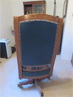 Leather & Wood High Back Desk Chair