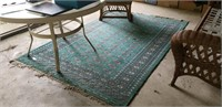 Large Aprox 5'x10' Rug, Green Geometric Design