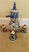 Hand Painted Porcelain Pitcher & Bells