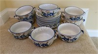 Hand Painted 8 Bowls & 7 Plates