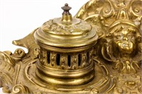 Antique Brass Inkwell with Hermes