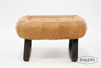 Vintage Leather Ottoman with Iron Legs