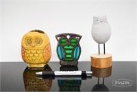 3 Decorative Owls