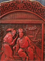 Vintage Red Lacquerware The Betrayal Plate