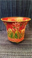 Gold Inlaid Footed Vase