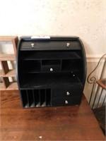 Black Wooden Roll Top Desk Organizer