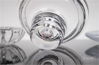 2 Dansk and 1 Littala Clear Glass Candle Holders