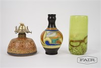 Lot of Vases and Small Oil Lamp