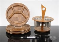 6 Woodweave Plates and Condiment Server