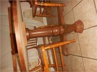 "42"" Oak Pedestal Round Dinner Table w/ 6 Chairs"