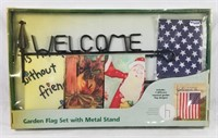 Welcome Garden Flag Set W/ Metal Stand New