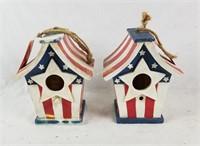 2 American Flag Birdhouses Erin's Garden