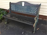 Park Bench With Cast Iron Legs, Back & Arms