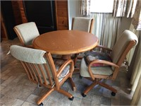 "Formica Oak Kitchen Table W/4 Chairs- 18"" Leaf"