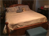 King Size 4 Poster Bed With Box Spring & Mattress