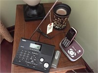 Uniden Scanner, Pair Of Telephones & Candle