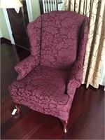 Modern Wing Back Chair With Queen Anne Legs