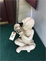 Plastic Garden Ornament With Boy Shaking