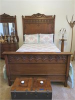 Double Wood Bed Frame with Bedding & Mattress