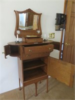 Dresser with Mirror, (2) Vintage Candle Holders &