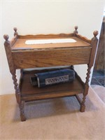 Wood Side Table with Antique Bed Heater & Contents