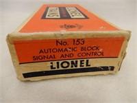 LIONEL TRAINS NO.153 BLOCK SIGNAL & CONTROL / BOX