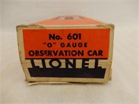 LIONEL ELECTRIC TRAINS NO.601 OBSERVATION CAR /BOX