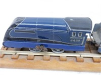 RARE TRAIN SET ON RAILS / MOUNTED ON WOODEN BOARD