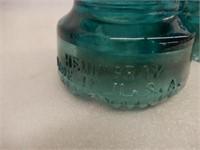 LOT OF 2 HEMINGRAY BLUE GLASS INSULATORS