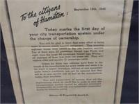 1946 HAMILTON STREET RAILWAY NEWSPAPER PRINT