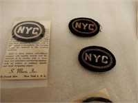 LOT OF 3 NYC RAILWAY CLOTH INSIGNIAS