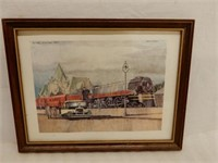 FRAMED CANADIAN PACIFIC ENGINE 3003 1936 PRINT