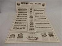 VINTAGE HORNBY CLOCKWORK TRAINS FOLDOUT  POSTER