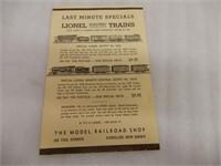 LOT OF 3 1934-35 LIONEL TRAINS CATALOG+ ADV.