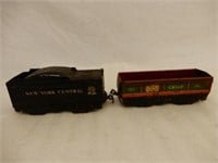 GROUPING OF RAILROAD ENGINE & VARIOUS TRAIN CARS